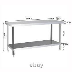 1200mm Stainless Steel Work Bench Kitchen Catering Prep Table Commercial 4 x 2FT