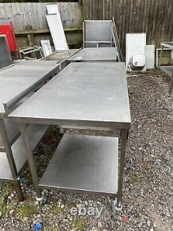 1.5M Long X 70cm Deep Mobile Stainless Steel Prep Table On Wheels With Draw
