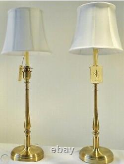 2 Ralph Lauren Darien Candlestick Table Lamps Brass Gold NWT