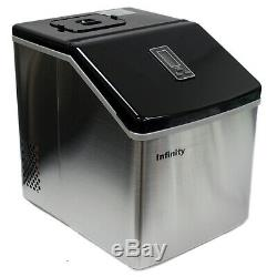 39 Lbs/Day Portable Table Top Ice Maker Making Machine Stainless Steel 24pc Cube
