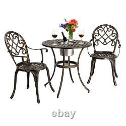 3-Piece Patio Bistro Dining Set Cast Aluminum Table and Chairs with Ice Bucket