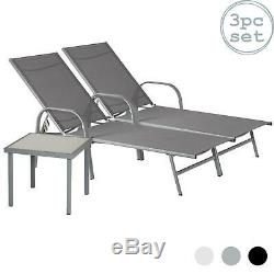 3 Piece Sussex Sun Loungers and Side Table Set Modern Design Grey