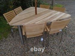 4 Season Outdoor Furniture Triangle Teak Table & 6 Alexander Rose Cologne Chairs