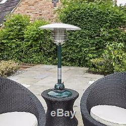 4kW Garden Gas Patio Heater Outdoor Table Top Polished Stainless Steel