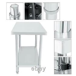 4x2FT Stainless Steel Work Bench Commercial Catering Table Kitchen WorkTop Prep