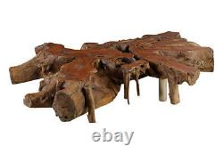 80 W Oversize coffee table mai teng root burl wood stainless steel legs unique