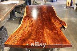 87 L Dining table makha wood smooth top slab stainless steel base polished