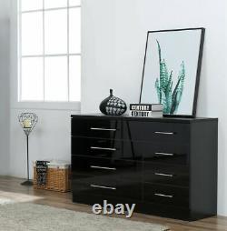 8 Drawer Dressing Table Cabinet High Gloss Black-Premium Bedroom Furniture UK