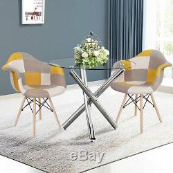 90cm Round Dining Table and 2/4 Patchwork Chairs Set Fabric Dining Room Kitchen