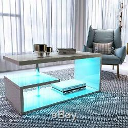 Alaska Modern White High Gloss Coffee/Side Table Living Room with RGB LED Light