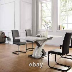 BASEL High Gloss White Extendable Dining Table 6 to 8-Seater with Stainless Stee