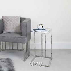 Bailey Silver Stainless Steel Clear Glass Under Sofa Table Laptop Side End Table