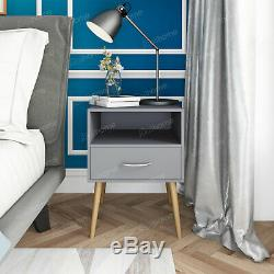 Bedside Table Side Table End Table Cabinet Storage with 1 Drawers Grey Wood Legs