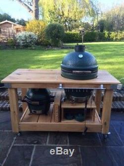 Bespoke Extra Large mini English oak big green egg barbecue table Kamado garden