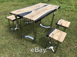 Bespoke dining table and 4 X Stools Solid Oak Dining Set Epoxy Stainless Steel
