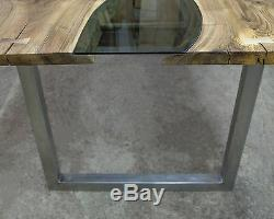 Bespoke reclaimed walnut wood, glass and stainless steel table