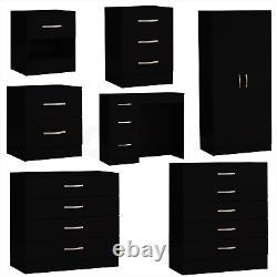Black Modern Chest of Drawers Bedside Table Wardrobe 1 2 3 4 5 Drawer Bedroom