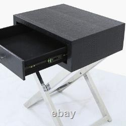 Black Snakeskin Stainless Steel Faux Leather End Side Table Bedside Drawer