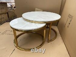 Brand New Artificial Marble and Gold Stainless Steel Set of 2 Nest Coffee Tables