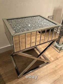 Brand New Crushed Diamond Mirrored Mosaic Side Table with Stainless Steel X Legs