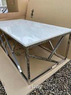 Brand New Geo White Artificial Marble and Stainless Steel Coffee Table