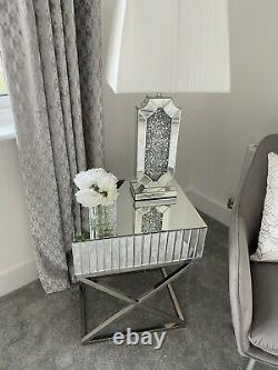 Brand New Mirrored Mosaic Side Table with Stainless Steel X Legs
