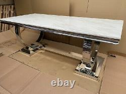 Brand New White Artificial Marble and Stainless Steel Circles Dining Table