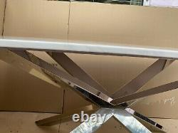 Brand New White Artificial Marble and Stainless Steel Dining Table