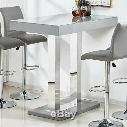 Caprice Glass Bar Table In Grey And Stainless Steel Support