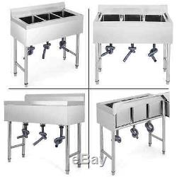 Catering Sink Commercial Stainless Steel Triple Bowl Wash Table Kitchen Unit UK