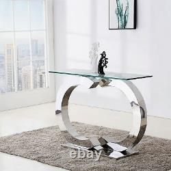 Channel Glass Hallway Console Table Rectangular Silver Stainless Steel Table