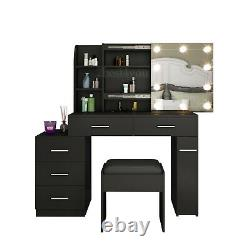 Chest of 5 Drawers Dressing Table Console Table with LED Bulb Desk Organiser Stool