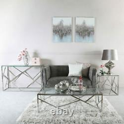 Claudette Stainless Steel Framework And Clear Glass Coffee Table