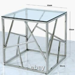 Claudette Stainless Steel Framework And Clear Glass End Side Table