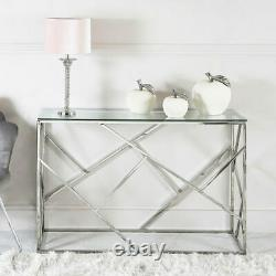 Claudette Stainless Steel Framework And Glass Console Table Hallway Table