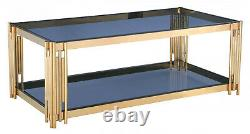 Coffee Table Grey Tempered Glass Top Stainless Steel Frame Gold Finish