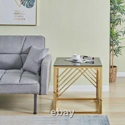 Coffee Table Side Table Stainless Steel With Smoked Glass Top For Living Room