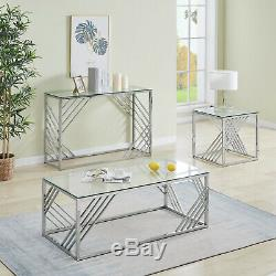 Coffee Table Stainless Steel End table with Light Grey Tempered Glass Design UK