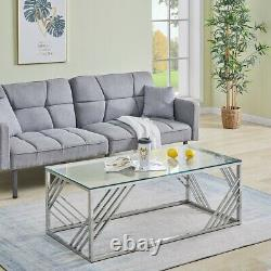Coffee Table Stainless Steel Side Table WithLight Grey Tempered Glass Living Room