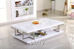 Coffee Table White Gloss Frame Stainless Steel Low Level Shelf