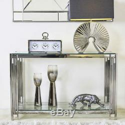 Colton Modern Stainless Steel Tubular Glass Console Dressing Display Table