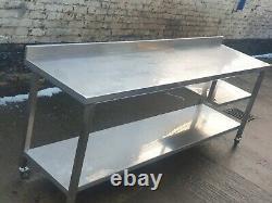 Commercial Catering Fully Welded Stainless Steel 230 cm Long On Castors