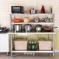 Commercial Catering Stainless Steel Table Overshelf Kitchen Prep Work Bench Set