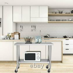 Commercial Catering Table Stainless Steel 4FT Kitchen Work Bench with Wheels