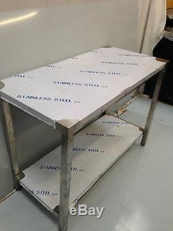 Commercial Kitchen Stainless Steel Catering Work Bench Table 4ft 1200x600