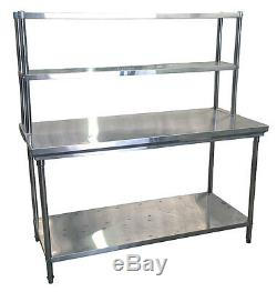 Commercial Kitchen Stainless Steel Double Overshelf For Prep Tables 1200mm