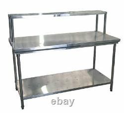Commercial Kitchen Stainless Steel Single Over Shelf For Prep Tables 1800mm