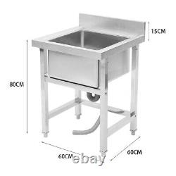 Commercial Stainless Steel Kitchen Sink Handmade Catering Wash Table Single Bowl