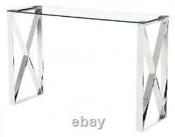 Console Hall Table Display Stand Clear Tempered Glass Top Stainless Steel Frame
