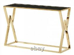 Console Table Display Stand Black Tempered Glass Top Stainless Steel Gold Finish